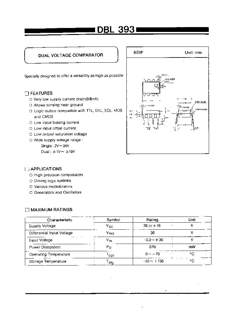Dbl393 Daewoo Dual Voltage Comparator Htmldatasheet Window Oscillator Circuit