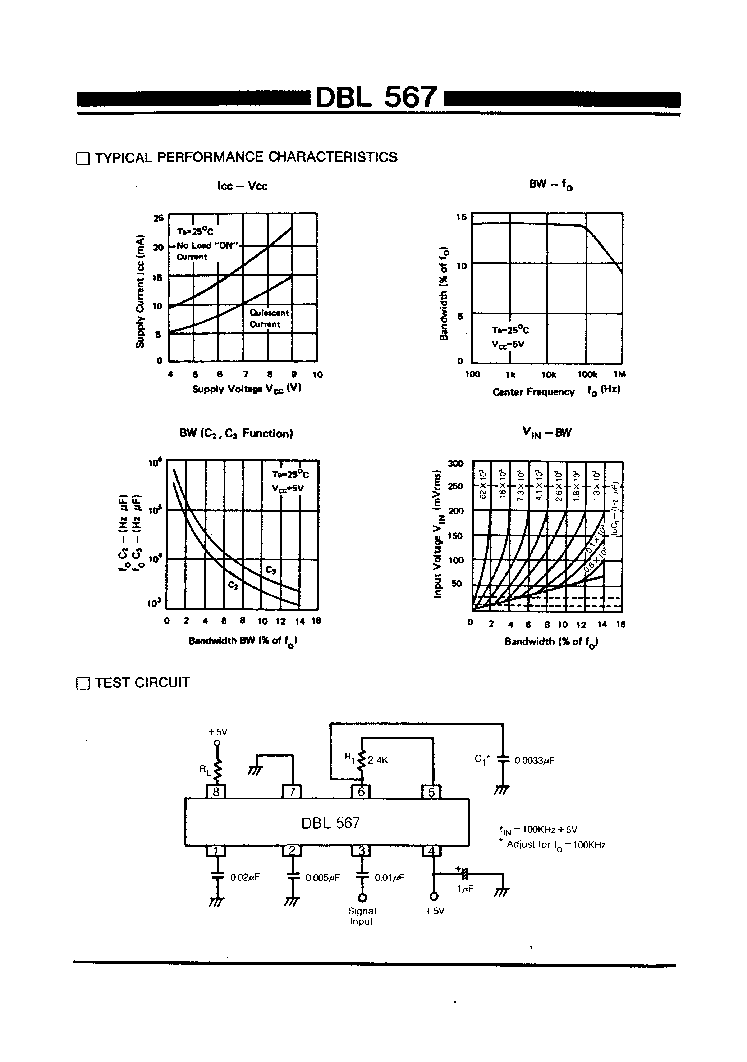 Dbl567 Datasheet Lm 567 Ic Touch Tone Decoder Pdf 1 Page