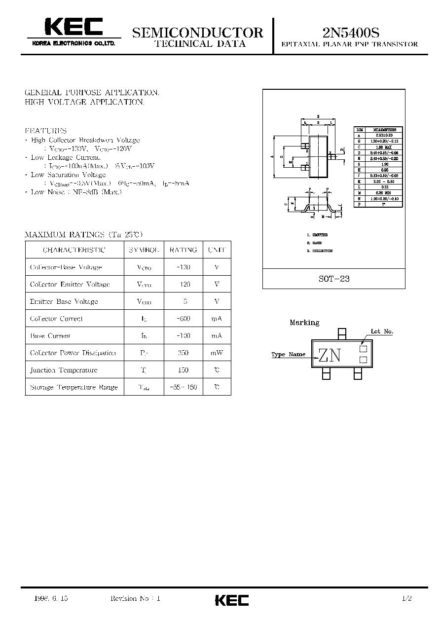 2n5400s Kec Epitaxial Planar Pnp Transistor General Purpose Diagram 2018 Icsheet