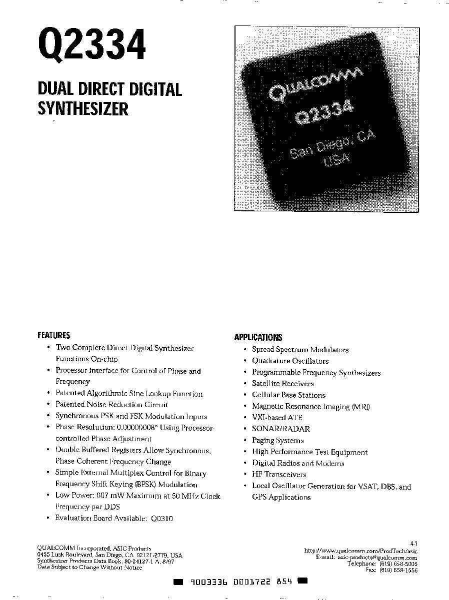 Q2334 Qualcomm Dual Direct Digital Synthesizer Htmldatasheet Quadrature Oscillator 2018 Icsheet