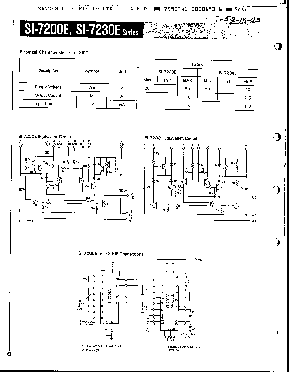 Si 7200e sanken stepping motor driver for Electric motor cross reference chart