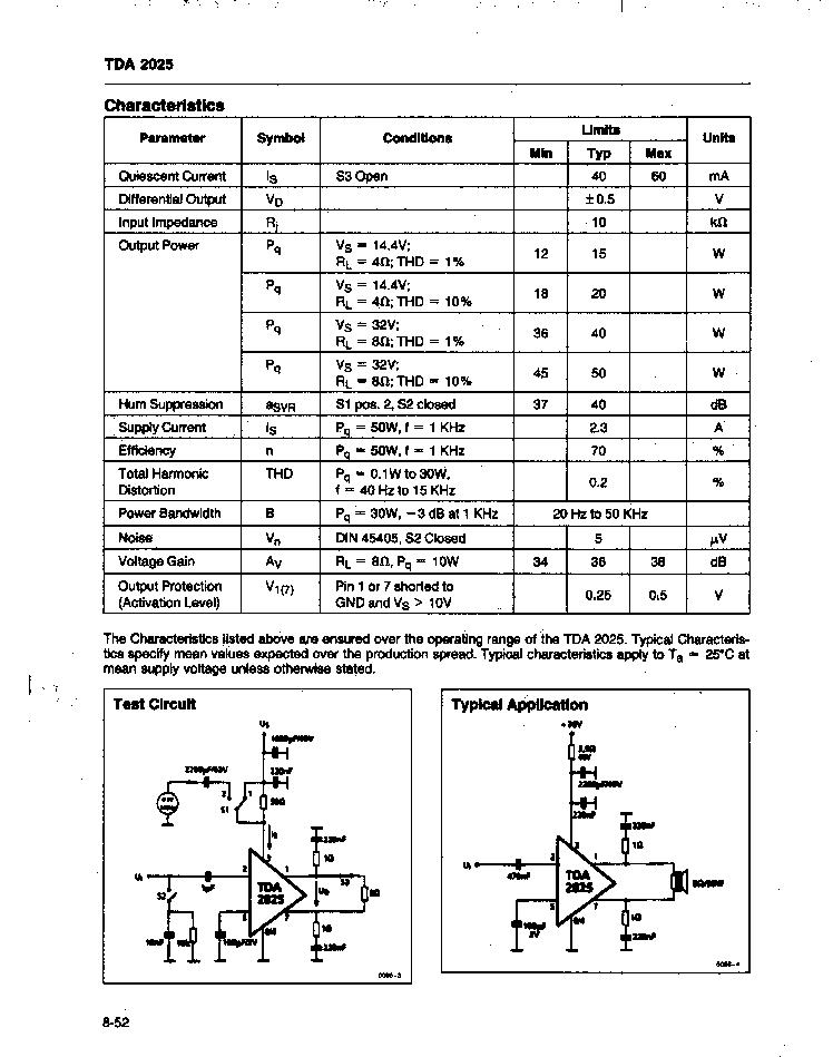 TDA2025 (Siemens) - 50 Watt Power Amplifier HTML.datasheet.