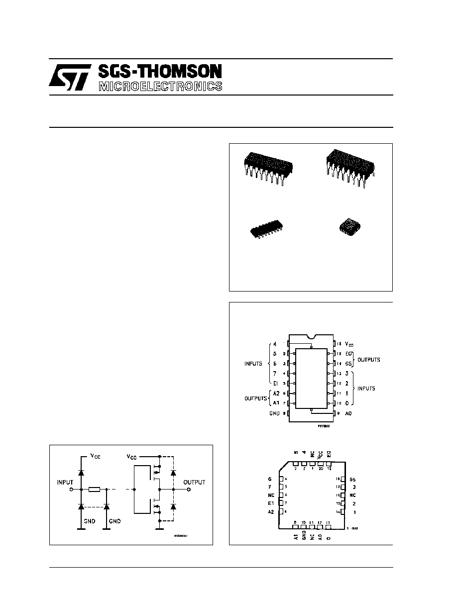 74hc148 Stmicroelectronics 8 To 3 Line Priority Encoder Html Logic Diagram M74hc148 October 1992