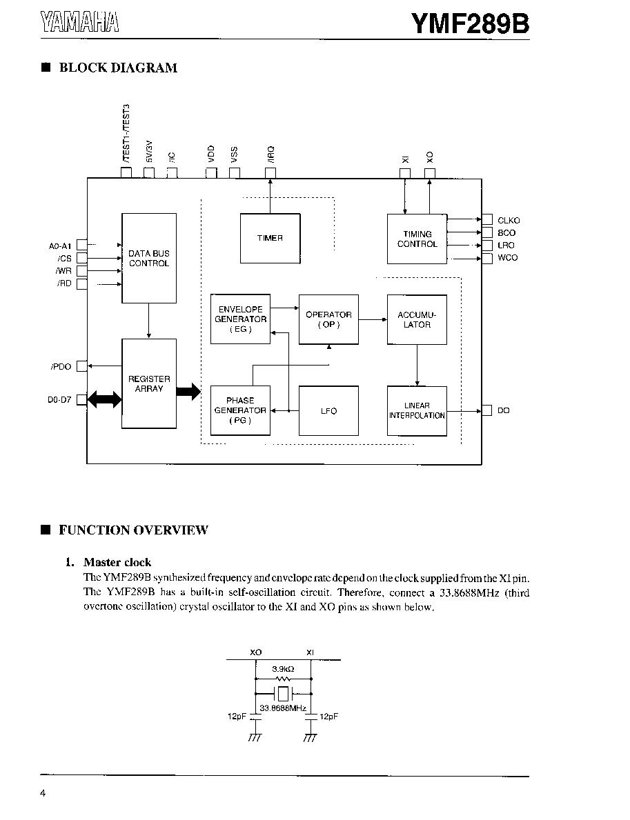 Ymf289b Yamaha Opl3 Low Voltage Version Htmldatasheet Thirdovertone Crystal Oscillator Circuit Diagram Tradeoficcom 2019 Icsheet